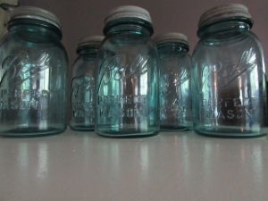 My favourite find of the day, these amazing blue mason jars.
